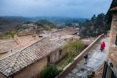 Autumnal trekking in the province of Siena, from Buonconvento to Monte Oliveto Maggiore Abbey Stock Photo
