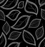 Autumnal vector seamless pattern with figured leaves Royalty Free Stock Photos