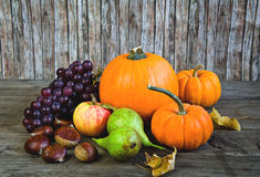 Autumnal vegetables and fruits. Fresh autumn fruit and vegetables Stock Photo