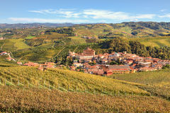Autumnal view on Barolo. Piedmont, Italy. Royalty Free Stock Photos