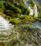 Autumnal view of beautiful waterfalls in Plitvice Lakes National Park Stock Images