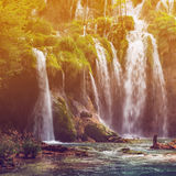 Autumnal view of beautiful waterfalls in Plitvice Lakes National Park Royalty Free Stock Photos
