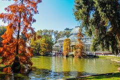 Crystal Palace, Buen Retiro Park. Madrid, Spain. Autumnal view of the Crystal Palace in the Buen Retiro Park. Madrid, Spain Royalty Free Stock Images