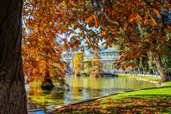 Crystal Palace, Buen Retiro Park. Madrid, Spain. Autumnal view of the Crystal Palace in the Buen Retiro Park. Madrid, Spain Royalty Free Stock Photo