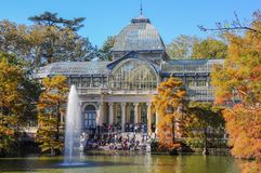 Crystal Palace, Buen Retiro Park. Madrid, Spain. Autumnal view of the Crystal Palace in the Buen Retiro Park. Madrid, Spain Royalty Free Stock Image