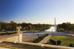 Autumnal view eastwards across the National Mall in Washington from the Lincoln Memorial Stock Image