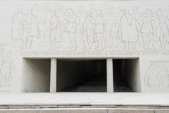 Autumnal view of the entrance to the Hall of Military Glory and bas-relief from the Heroes' Square, the historical memorial comple Royalty Free Stock Image