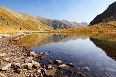 Autumnal view of Jamnicke lake from rohace mountai Royalty Free Stock Image