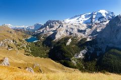 Autumnal view of mount Marmolada and mount civetta Stock Images