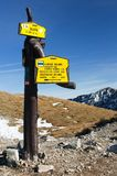 Autumnal view from rohace mountains with guidepost. Zapadni vysoke tatry - western high tatra mountains- Slovakia Stock Images