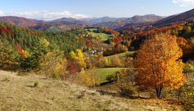 Autumnal view of strazov mount in strazovske vrchy Stock Photography