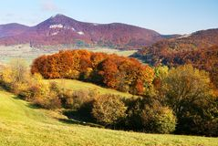 Autumnal view of strazov mount in strazovske vrchy royalty free stock image