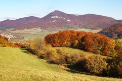 Autumnal view of strazov mount in strazovske vrchy Stock Photos