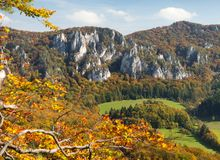 Autumnal view from Sulov rockies - sulovske skaly Royalty Free Stock Photo