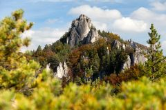 Autumnal view from Sulov rockies - sulovske skaly Royalty Free Stock Photos
