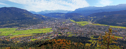 Autumnal view to garmisch-partenkirchen Royalty Free Stock Photo