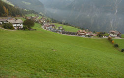 Autumnal view toward the little town of Acereto in Ahrntal Royalty Free Stock Photography