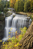 Autumnal Websters. Websters Falls in autumn with stone bridge Stock Images