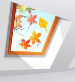 Autumnal wet window Stock Photography