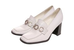 Autumnal white  leather shoes Stock Photo