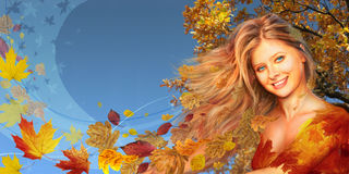 Autumnal woman long collage Stock Image