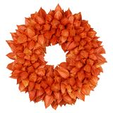 Autumnal Wreath with Physalis Physalis alkekengi on white. Autumnal decoration wreath with dried sepals of Physalis alkekengi on white stock image