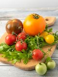 AutumnHomemade tomatoes from the meadow to the table are natural mixes of different colors and sizes royalty free stock images