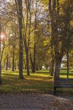 Autumnl landscape of Empty European Park .Colorful trees and lea stock photography