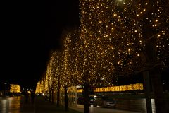 Christmas on the streets. Lights of the New Year`s city royalty free stock photography
