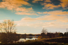 Autumns Of The Past. An autumn sunset with a little bit of a retro look. The evening was a bit orange stock images