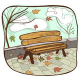 Autumun bench vector Stock Image