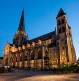 Autun Cathedral. Romanesque Autun Cathedral at night in Burgundy, France Royalty Free Stock Image