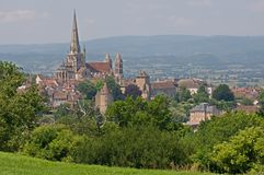 Autun, France. Historical center town Autun with cathedral St. Lazare, France Stock Photography