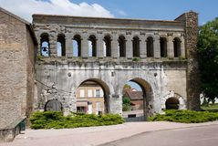 Autun, France. Historical center town Autun with Roman gate Porte Saint-André , France Stock Image