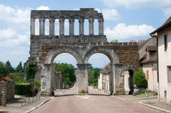 Autun, France. Town Autun with Roman gate Porte d'Arroux , France Royalty Free Stock Images