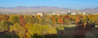 Autunm colors with the ciot of Boise and foothills Royalty Free Stock Photo