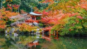 Autunno in anticipo al tempio di Daigoji a Kyoto Fotografia Stock Libera da Diritti