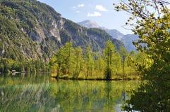 Autunno in anticipo nel lago Almsee Fotografia Stock Libera da Diritti