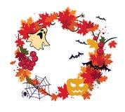 Autunno, corona di Halloween Immagini Stock