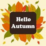 Autunno dell'insegna ciao Le foglie di autunno sono gialle e rosse illustrazione di stock