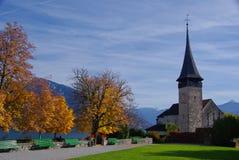 Autunno della chiesa della montagna Immagine Stock
