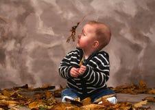 Autunno di caduta del bambino Fotografie Stock Libere da Diritti