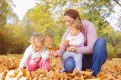 Autunno felice della famiglia fotografia stock libera da diritti
