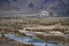 Autunno in Himalaya: nella priorità alta il letto del fiume Indo curva con chiara acqua blu, nel terreno alluvionale là è a Fotografia Stock Libera da Diritti