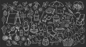 Autunno Insieme dello scarabocchio Linea stile di arte Vettore Fotografia Stock