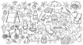 Autunno Insieme dello scarabocchio Linea stile di arte Vettore illustrazione di stock