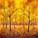 Autunno negli alberi forestali della foresta nel fogliame di autunno Fogliame caldo marrone giallo arancione dorato di autunno su Fotografia Stock