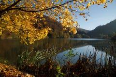 Autunno nel lago Lucelle in svizzero Giura Fotografia Stock Libera da Diritti