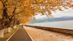 Autunno nella città Epiro Grecia di Giannina Fotografia Stock Libera da Diritti