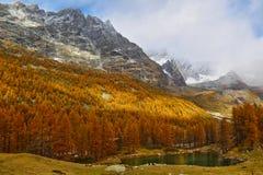 Autunno nelle alpi, Italia Lago blu Immagine Stock